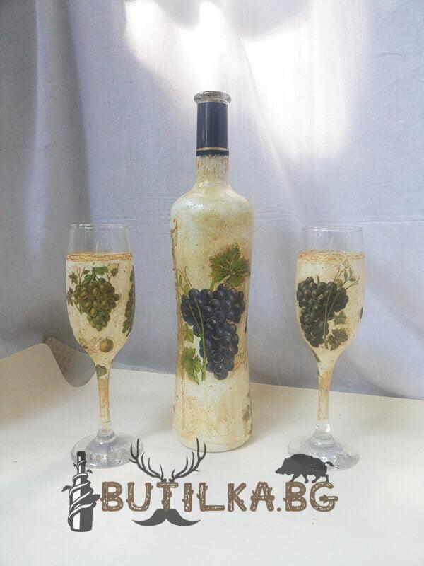 """Бутилка и чаши за бяло вино """"Грозде"""" - комплект"""