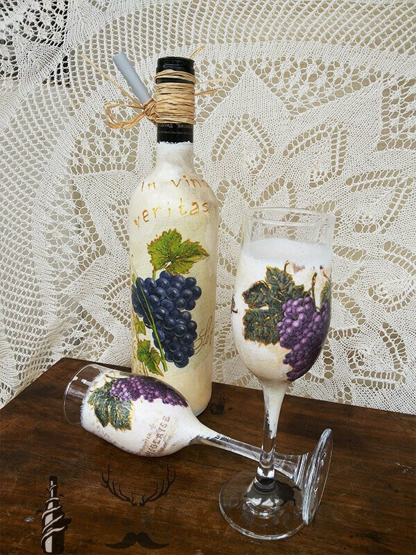 "Бутилка и чаши за бяло вино ""In Vino Veritas"""