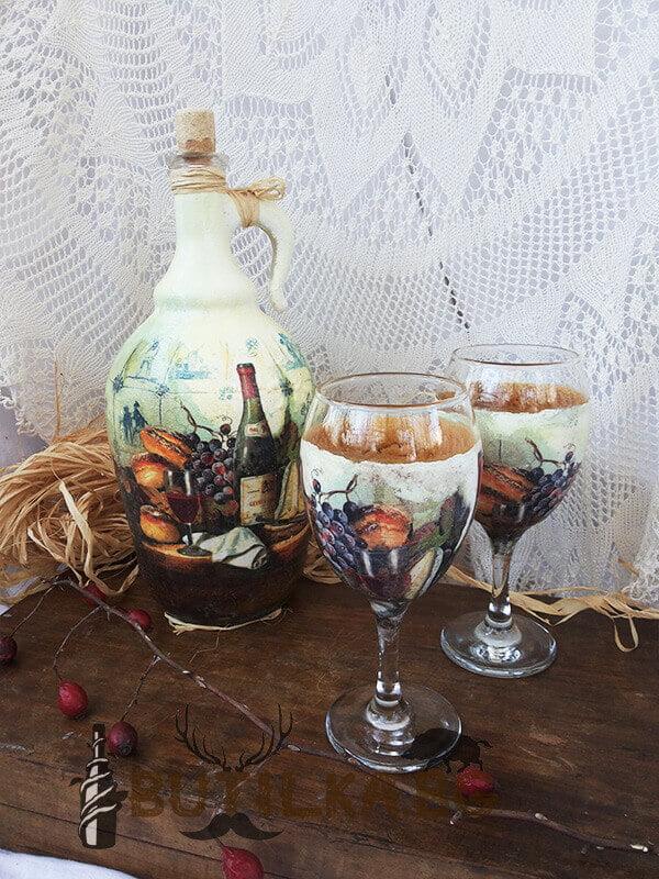 Дамаджана и чаши за домашно вино 2л