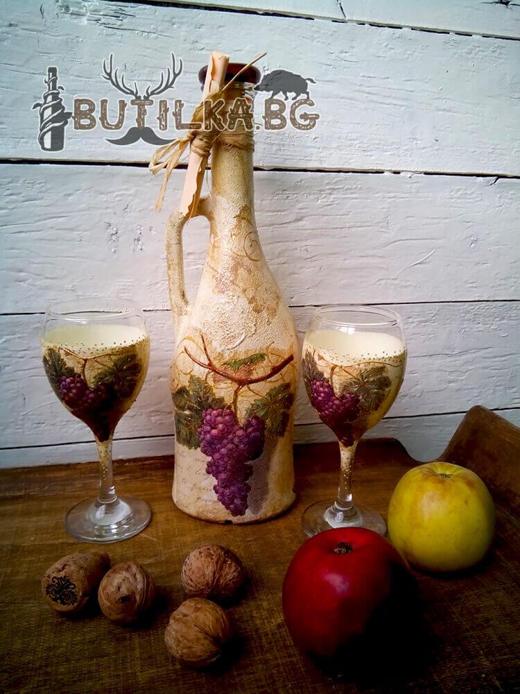 """Бутилка и чаши за ракия """"Гроздов елексир"""""""