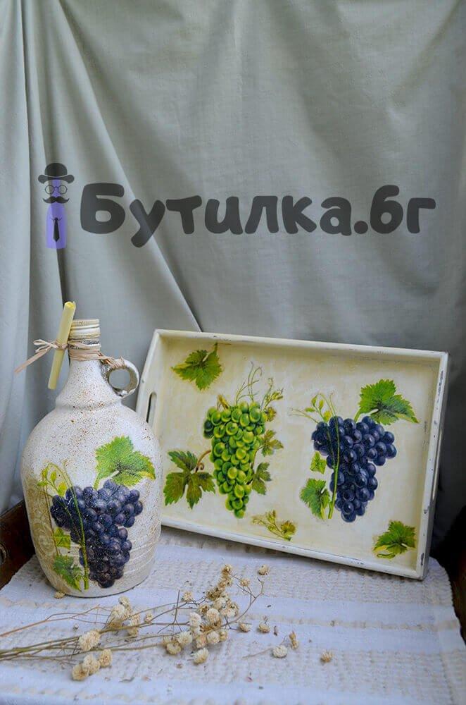 Дамаджана за вино и ракия + поднос комплект