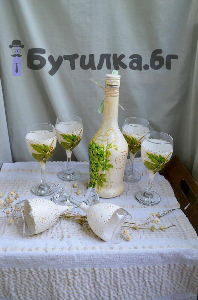 Комплект бутилка и 6 чаши за ракия