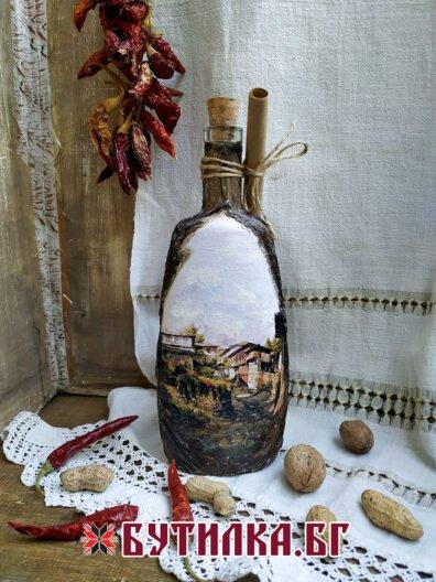 бутилка със стари къщи